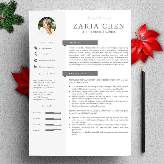 Profesional Creative Resume Template For Word Us Letter And A4 1 2 Page Cv Template For Mac Instant Modele De Cv Professionnel Curriculum Vitae Modele Cv