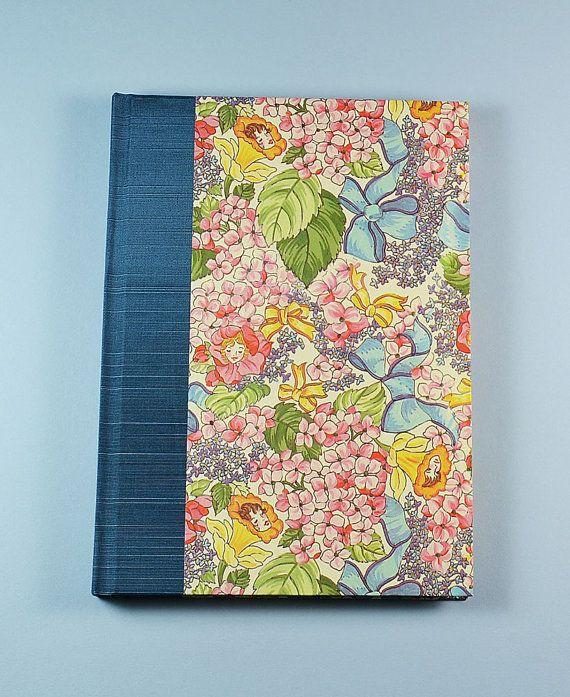 Garden Journal GARDEN NYMPHS  handmade in the USA alian Decorative Paper, Garden Book, Antioch Bookplate, Binders Board, Woven Headband, Bookcloth, Satin Ribbon #WolfiesBindery $25