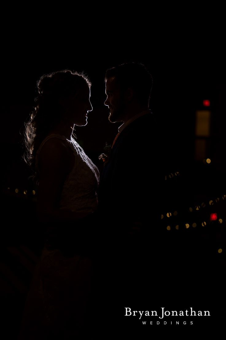 Silhouette bride and groom photos.