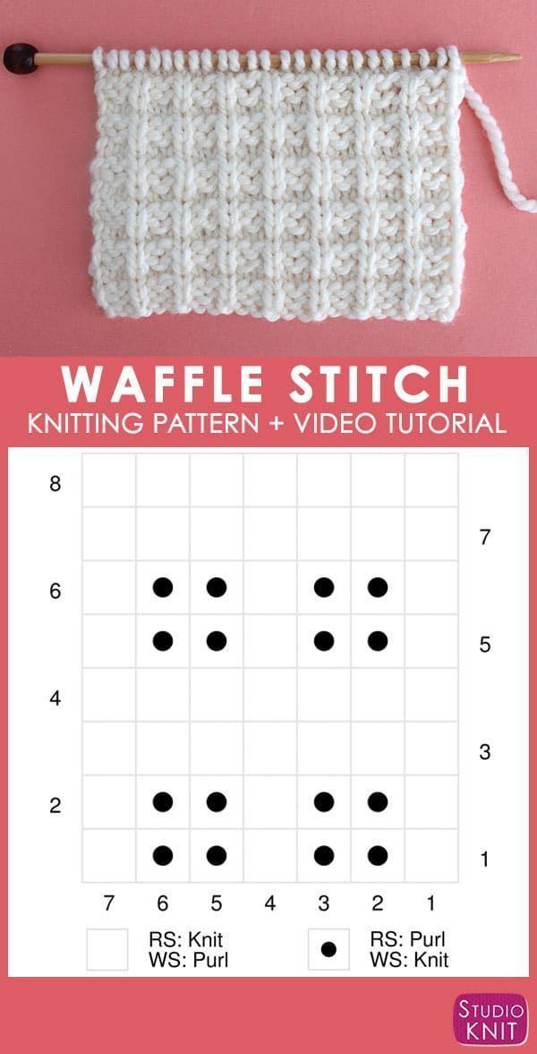 Photo of Diagramm des Waffelstrickstichmusters mit Video-Tutorial von Studio Knit #StudioKn …