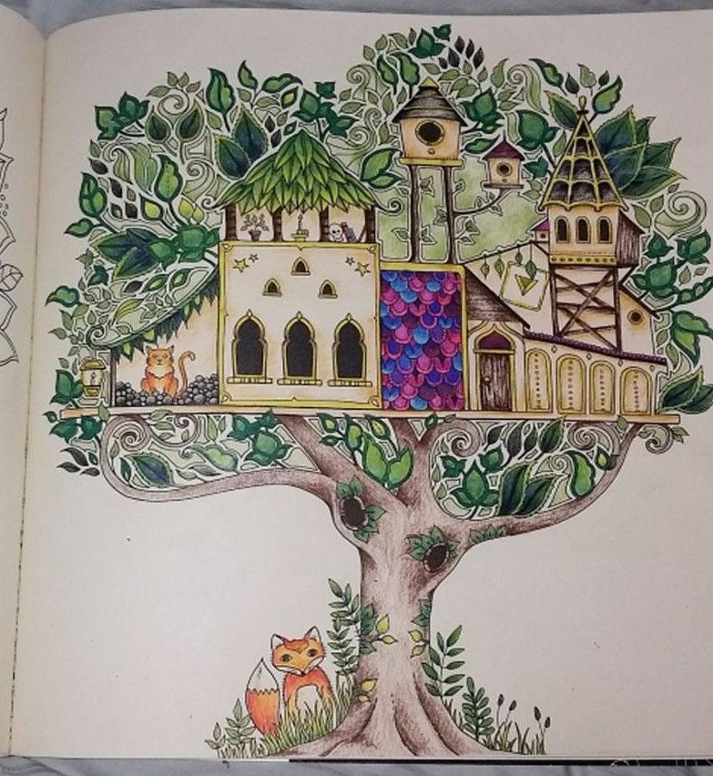 Completed Enchanted Forest Colouring Book
