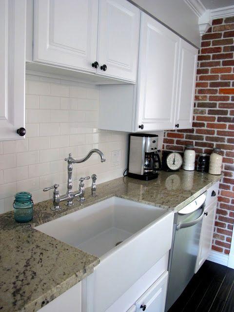 White Subway Tile Backsplash Brick Kitchen Kitchen Makeover