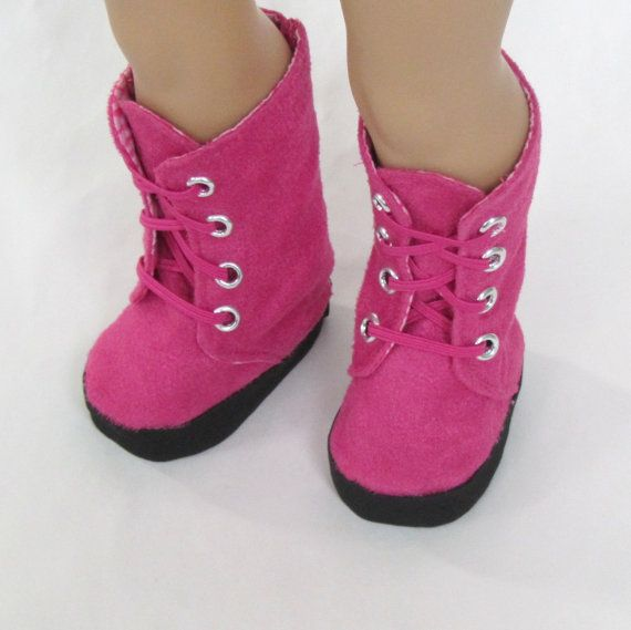 American Girl Doll Clothes  Pink Suede Boots by Minipparel on Etsy Miche Designs pattern. Find it here http://www.pixiefaire.com/collections/miche-designs/products/combat-boots-18-doll-shoes. #pixiefaire #michedesigns #combatboots