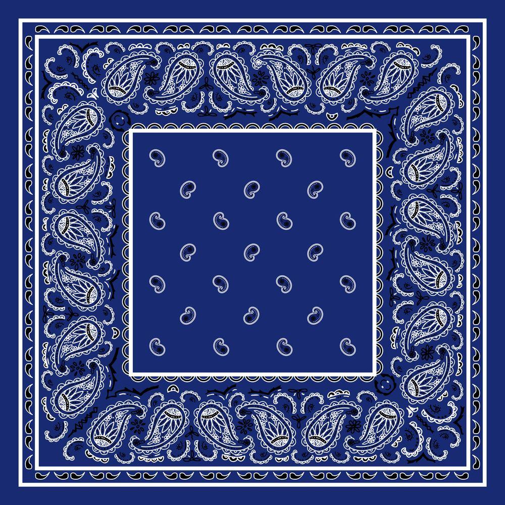 A23  Bandannas Can Craft into a Throw Pillow Blue Denim Paisley Print