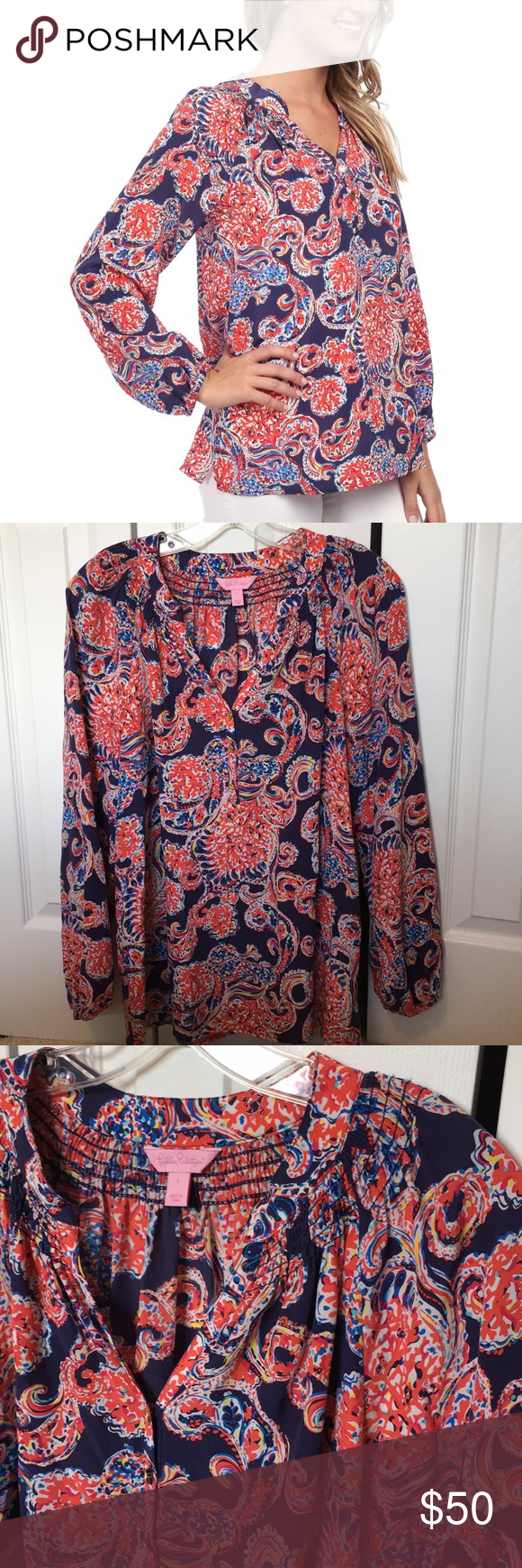ed65535059a963 Lilly Pulitzer Elsa For The Halibut paisley top Love this with white jeans!  EUC. 100% silk. Lilly Pulitzer Tops