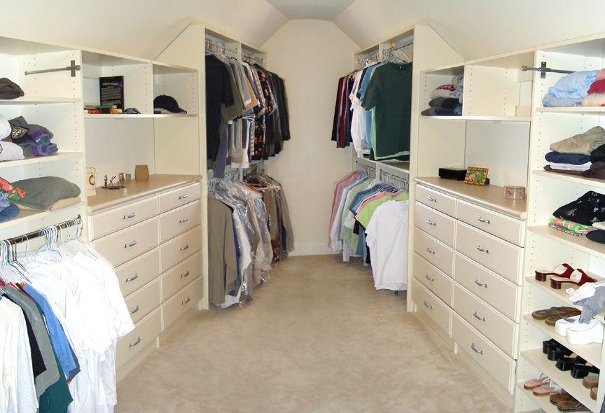 His Her Attic Closet With Angled Ceiling Attic Closet Simple Closet Living Room Remodel