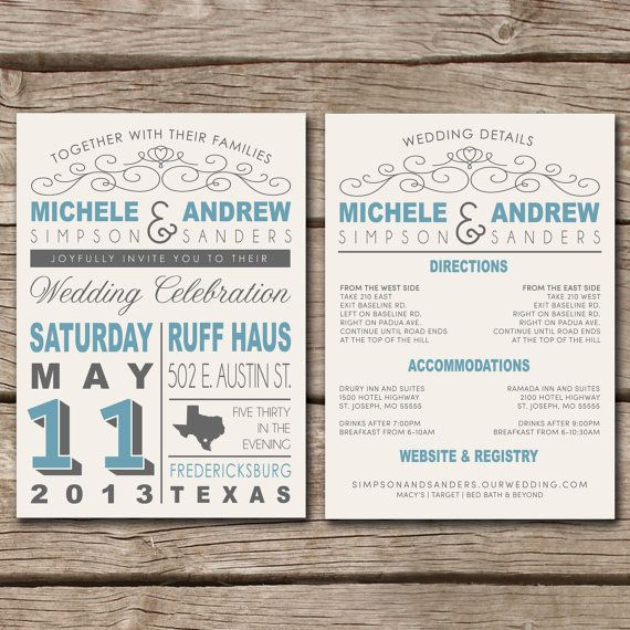 Rustic Country State Wedding Invitation Details Card On Etsy 40 00