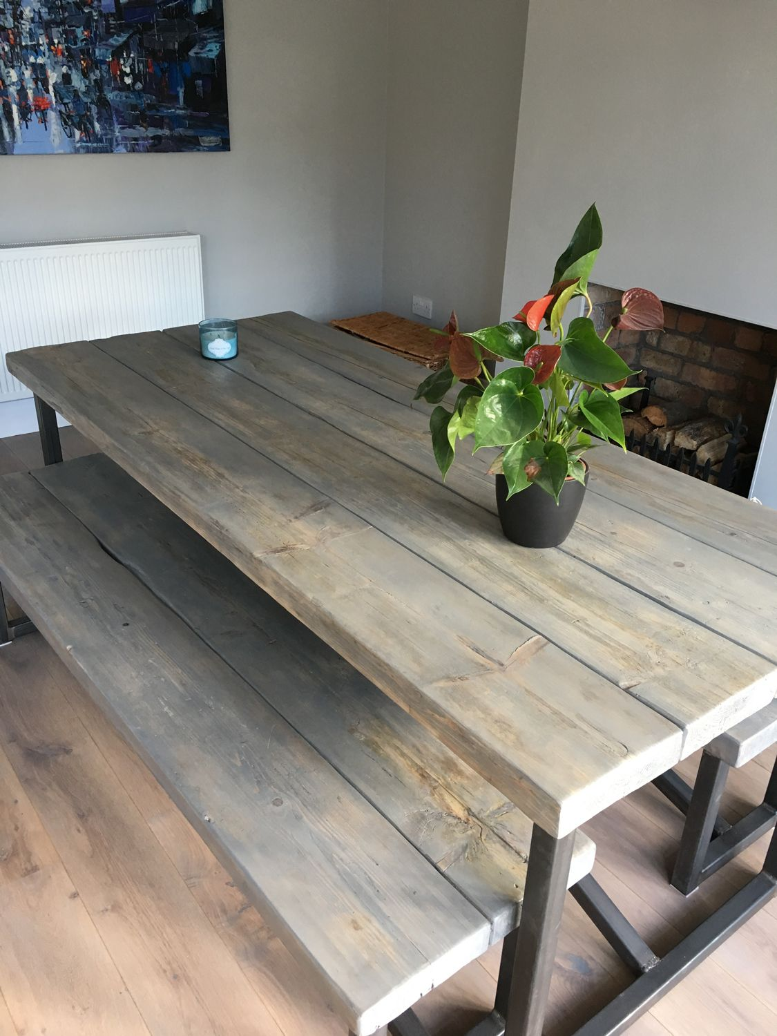 Industrial Style Reclaimed Wood Grey Washed Dining Table And Benches Www Reclaimedbespoke Co Uk Metal Dining Room Table Dining Table Wood Dining Table