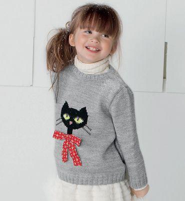 mod le pull motif chat 51 laine mod les tricot enfant. Black Bedroom Furniture Sets. Home Design Ideas