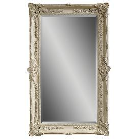 """Bring stately elegance to your entryway or master suite with this chic wood-framed wall mirror, showcasing an antiqued white finish with raised floral details.   Product: Wall mirrorConstruction Material: Wood and mirrored glassColor: Antique white frameFeatures:Beveled glass perimeterCan be hung horizontally or verticallyDimensions: 69"""" H x 43"""" W"""