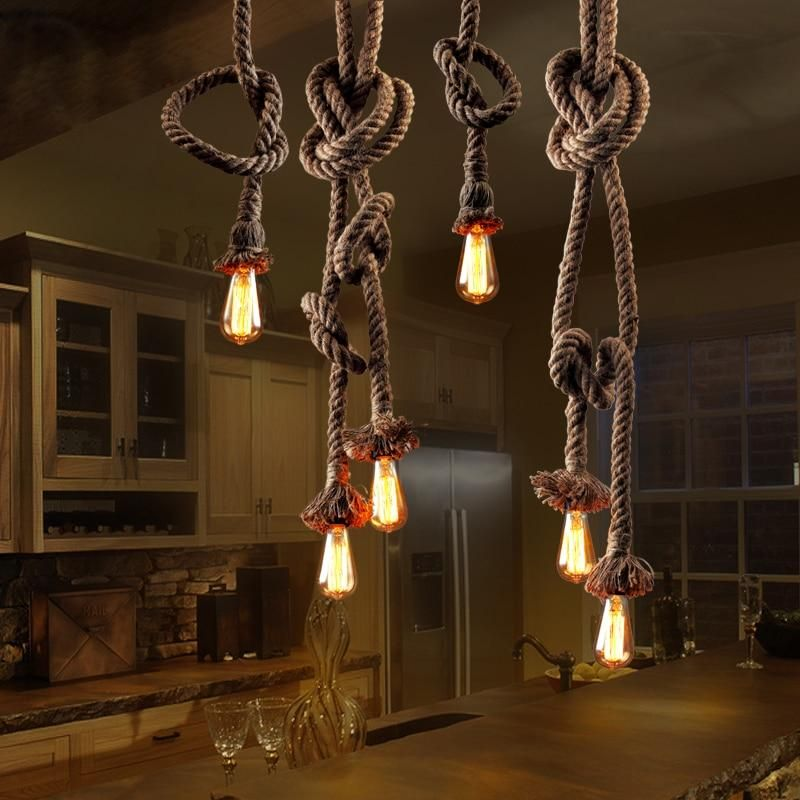 Hemp Rope Chandelier Vintage Pendant Light Industrial Ceiling Lamp Edison E27 Base Lamp Cord Retro Style