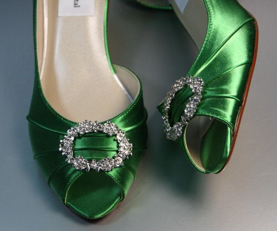 SAMPLE SALE Wedding Shoes Emerald Green Peeptoes With Rhinestone Oval Adornment Size