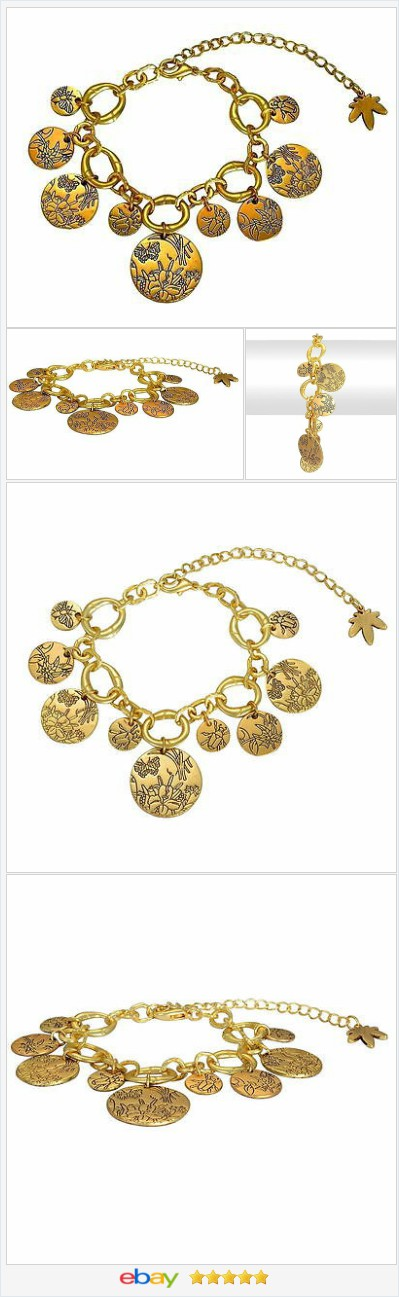 Charm Bracelet or Anklet Gold tone Disc etched adjustable USA SELLER    eBay  60% OFF #EBAY http://stores.ebay.com/JEWELRY-AND-GIFTS-BY-ALICE-AND-ANN