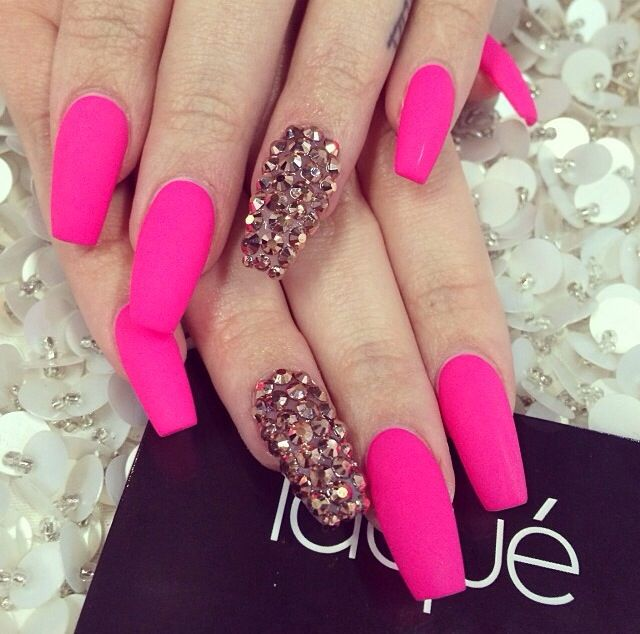 Hot Pink Nailz And Bling Pink Bling Nails Bling Nails Pink Acrylic Nails