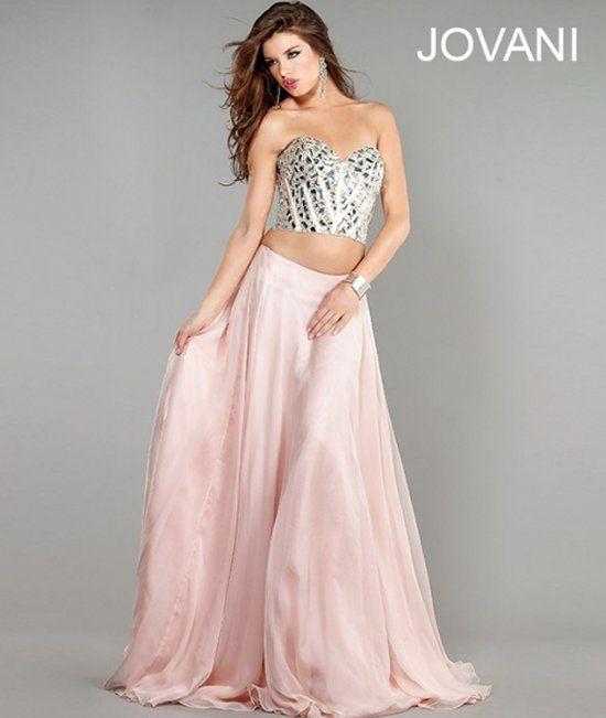 The cutest pink two piece prom dress 2013 by #Jovani #promdresses ...