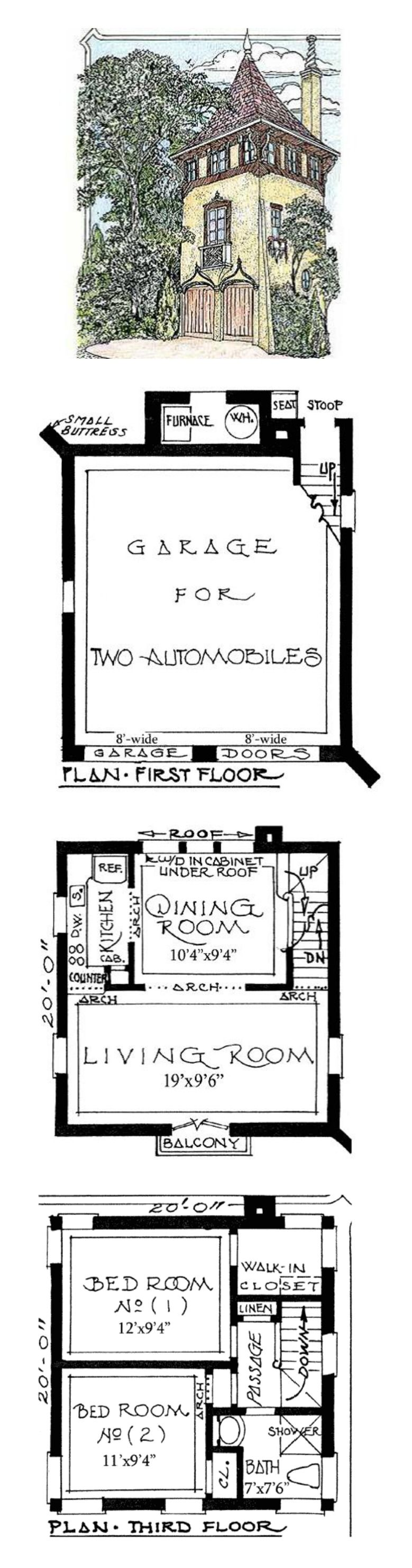 amazing tower home plans #3: Architectural Designs ~ Romantic Carriage House Plans ~ It also could have  Look Out Tower design applied to the exterior.