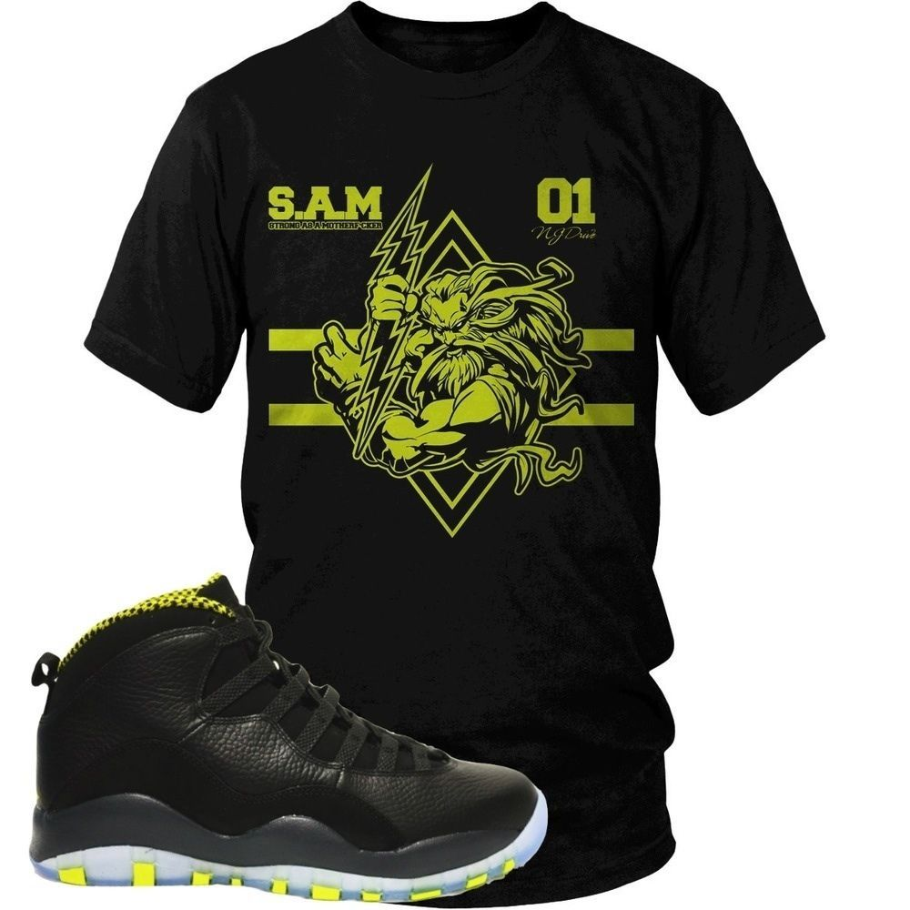0ecc355944eab4 Venom Green Zeus Tee- Tee Shirt Match your Jordan Retro 10 Venom Green  Sneakers  NJDriveClothing  TShirt  mensfashion  graphictee  sneakertee   Jordans