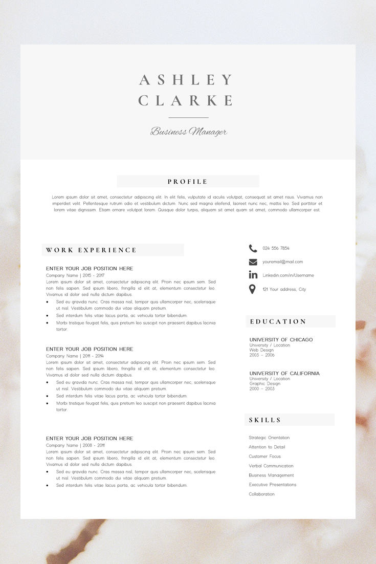 Resume Template 5 Pages Cv Template Professional Resume Etsy Resume Template Resume Design Professional Resume Cover Letter Template