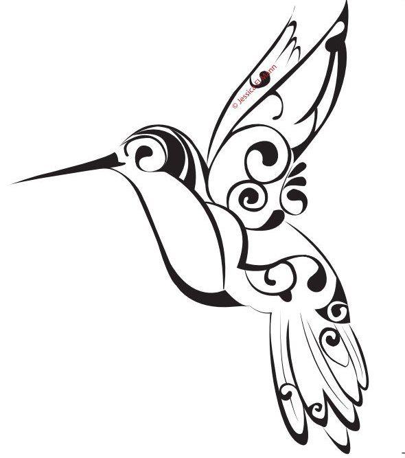 Colorful Tribal Hummingbird Tattoo Design Photo 3 Tribal Dovmeler Kus Sanat Cizimler