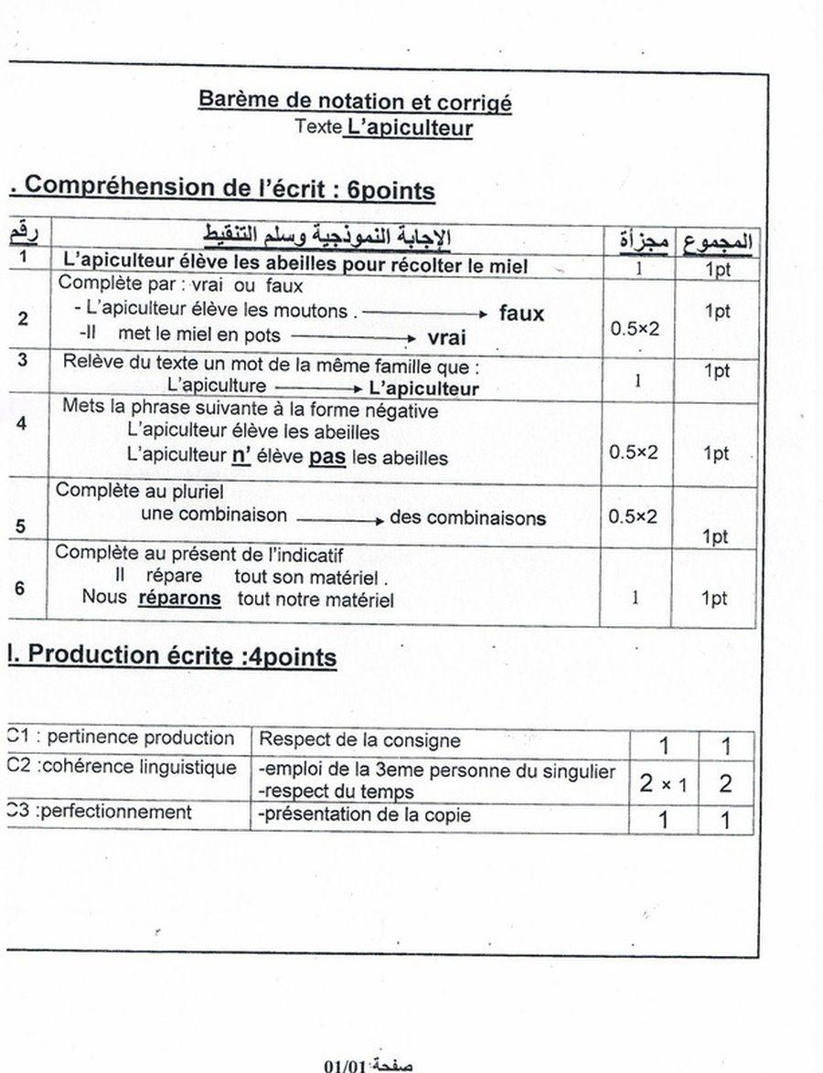 نموذج لاختبار الثلاثي الأول في اللغة الفرنسية سنة خامسة ابتدائي Education Sheet Music Music
