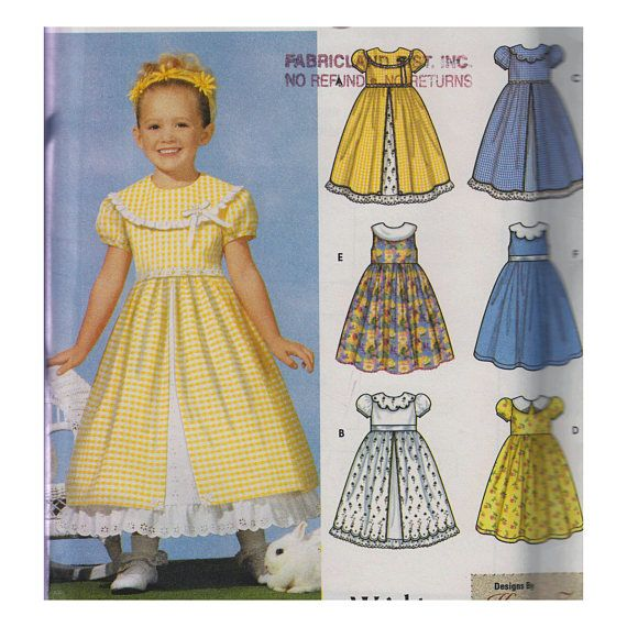 Toddler & Girl Fancy Dress Sewing Pattern Scalloped Collar Front ...