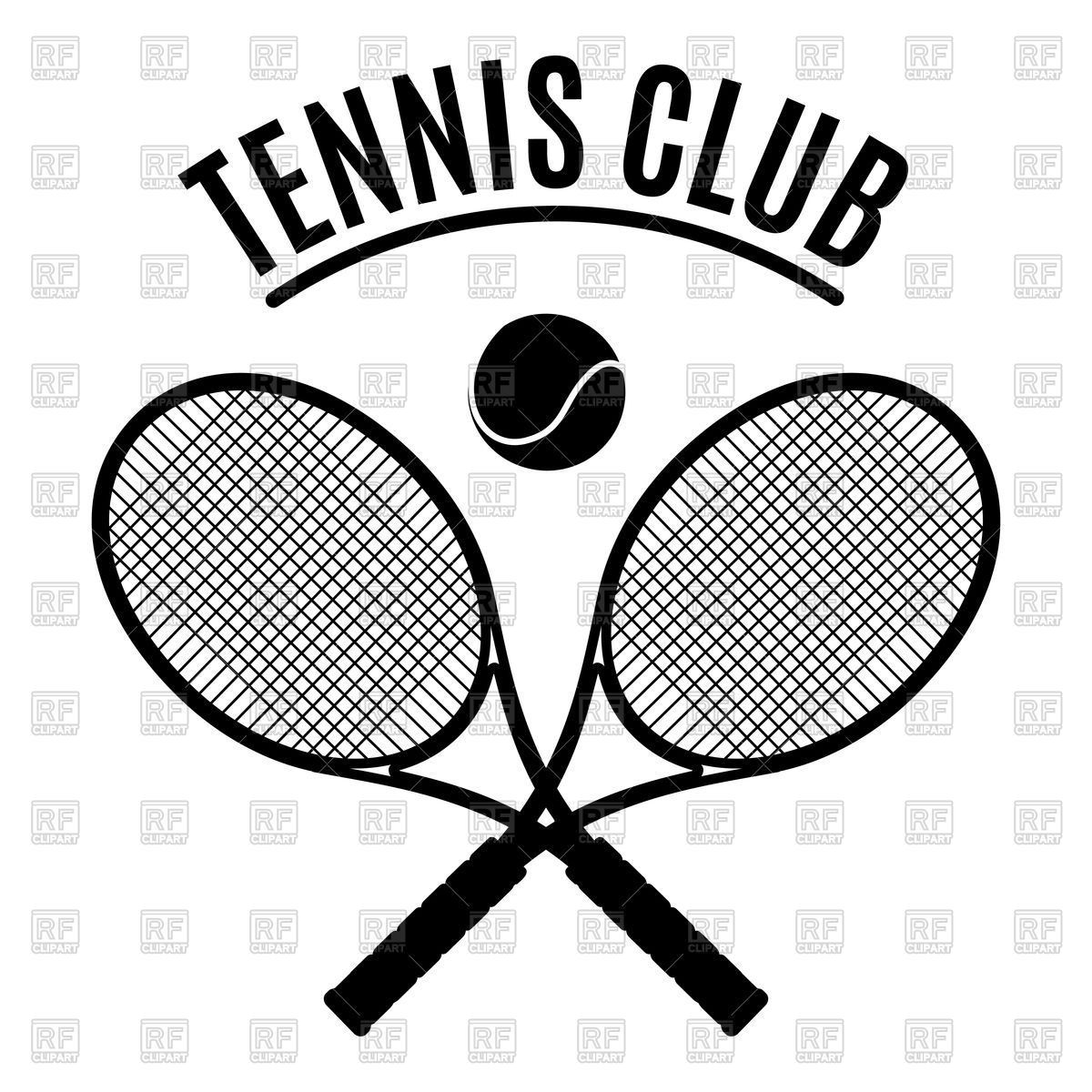 Download Royalty Free Black And White Tennis Club Emblem Vector Image 137668 From Rfclipart Illustrations Free Vector Illustration Vector Artwork Tennis Clubs