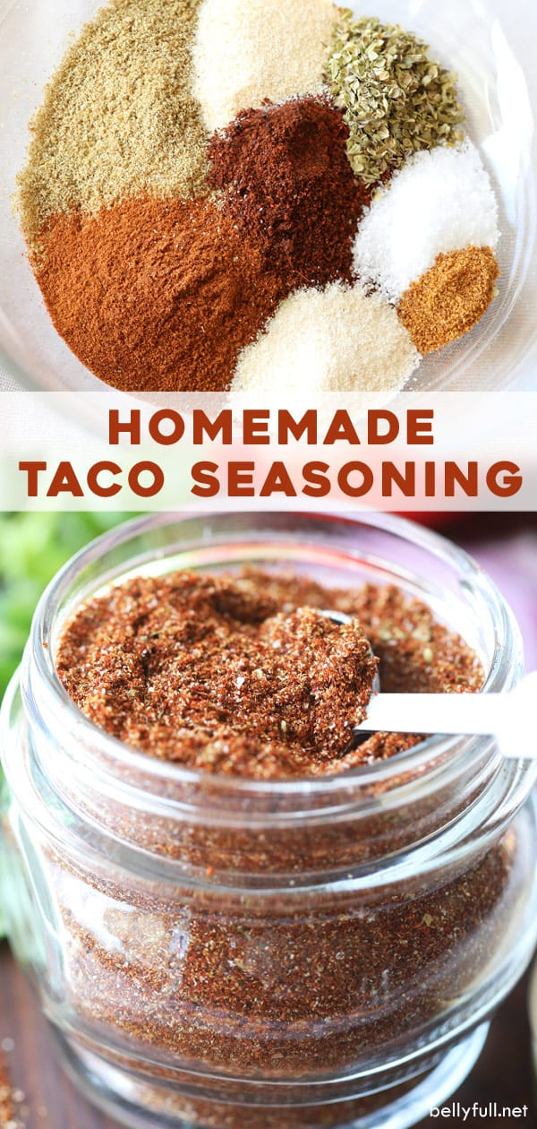 Homemade Taco Seasoning #maketacoseasoning This DIY Homemade Taco Seasoning recipe is the perfect blend of spices for all your favorite Mexican dishes. Directions for 1 packet or a big batch! It's so easy, inexpensive to make, healthy, gluten free, and without fillers, you'll never buy pre-packaged again. #tacoseasoning #tacoseasoningrecipe #tacoseasoninghomemade #tacoseasoningpacket