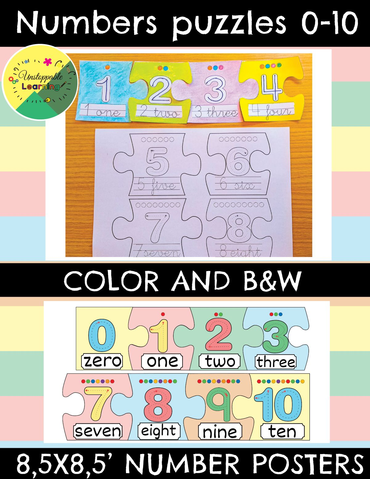 Number Puzzles 0 10 Color And B Amp W