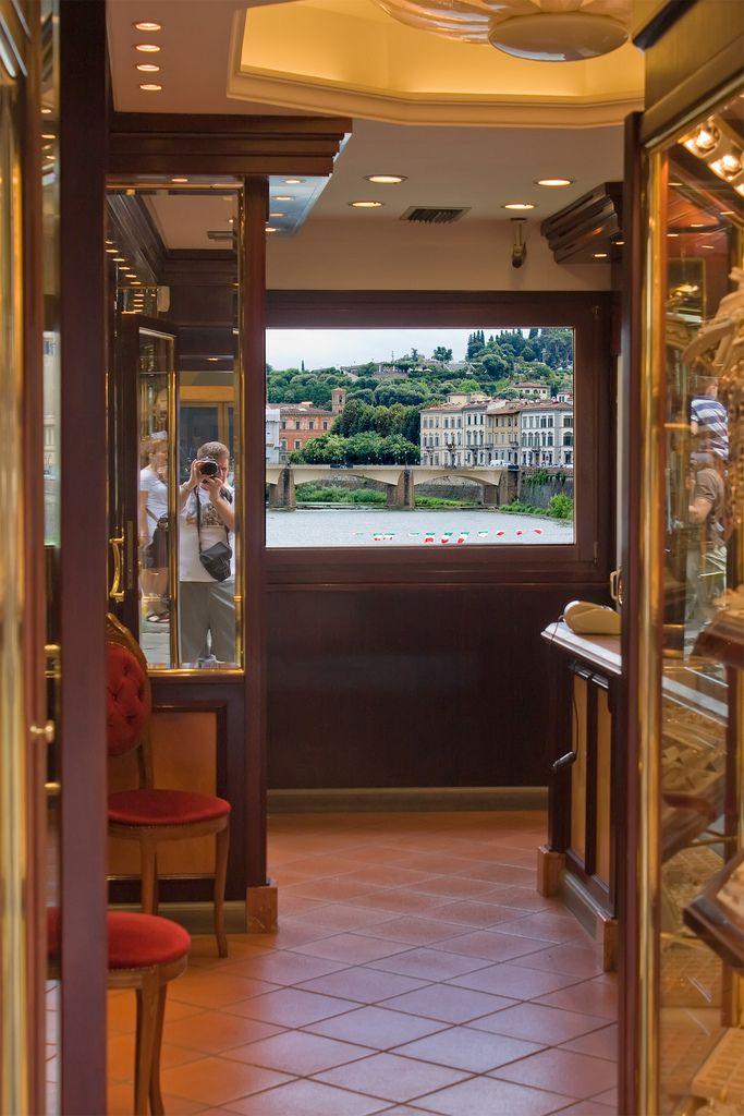 View through a Ponte Vecchio shop