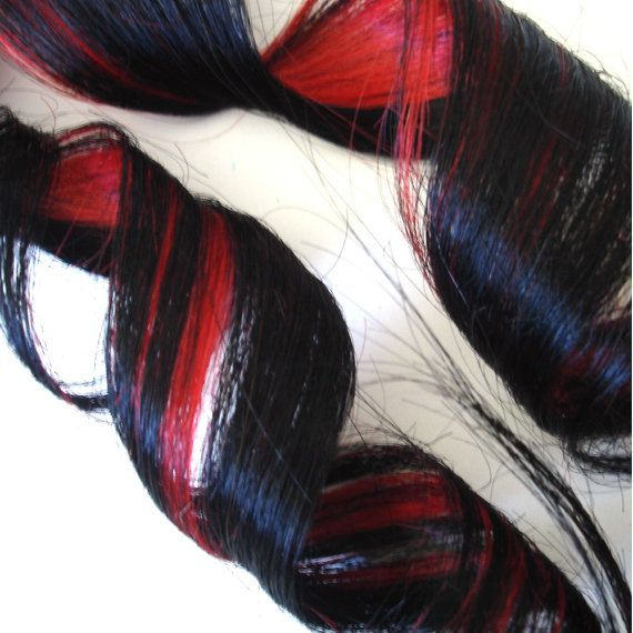 Hair Extensions Black And Cherry Red Two Tone Clip By Ikickshins