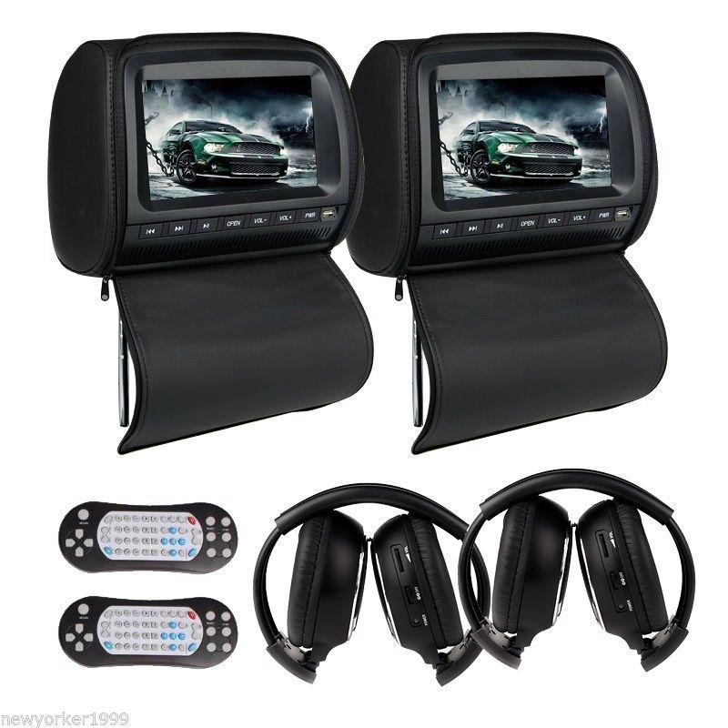 Dual 9 Headrest Car Dvd Player With Zipper Screen Cover Games Ir