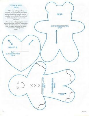 Gingerbread man, teddy bear, heart Patterns\/Printables\/Templates - gingerbread man template