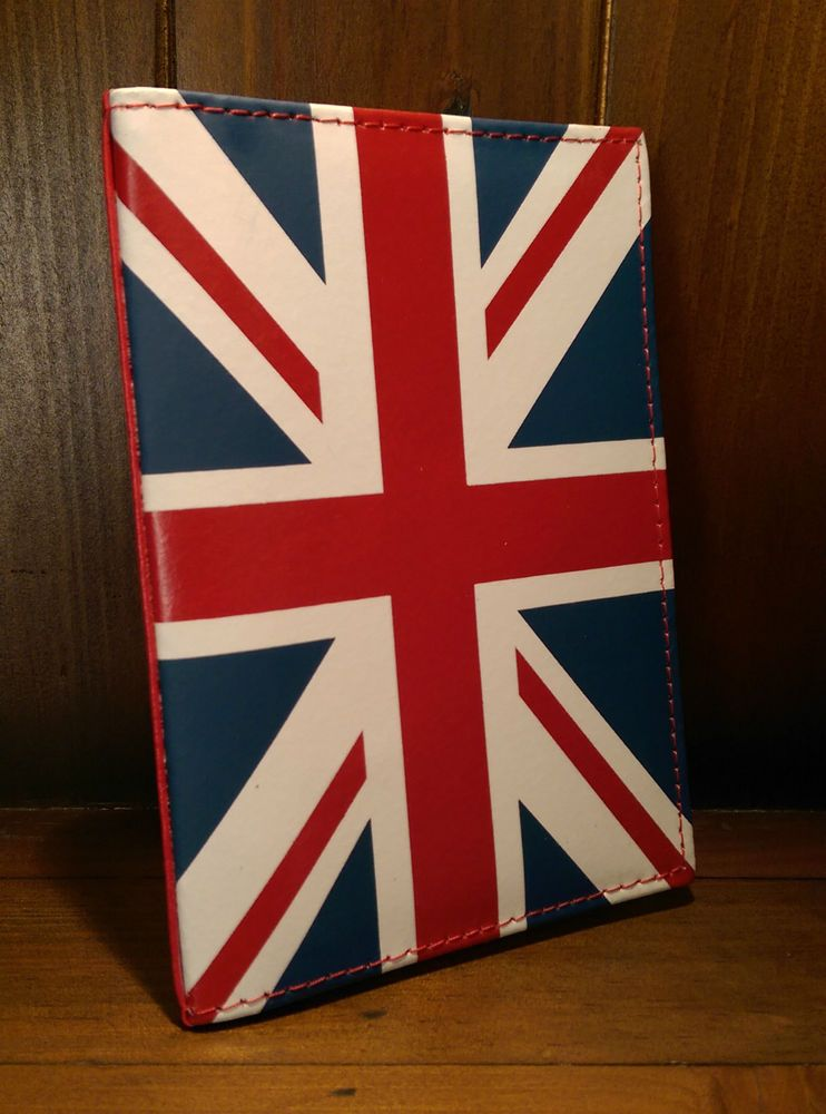 Leather Passport Wallet Cover Holder Travel Union Flag Great Britain