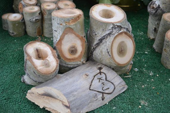 Tealight Candel Holders Wedding Decor Wood Tea Candle by Sarqit
