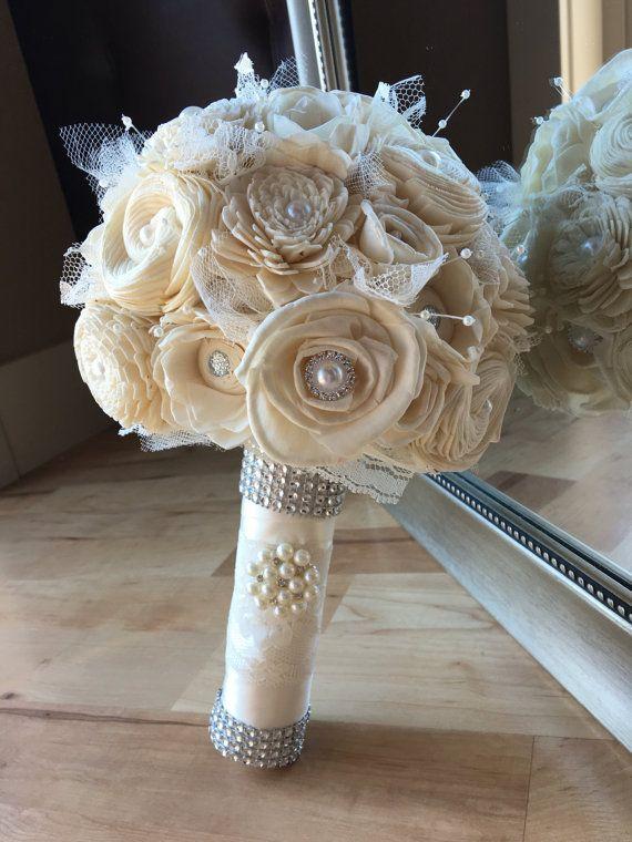Ivory Wedding Bouquet Simple Sola Alternative White Vintage Bridal