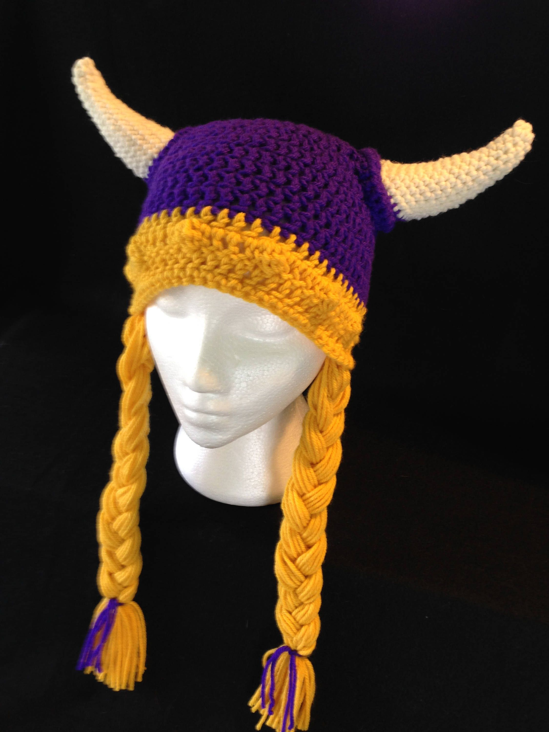 Purple Viking Helmet Hat with Braids and Horns; Purple and Gold ...