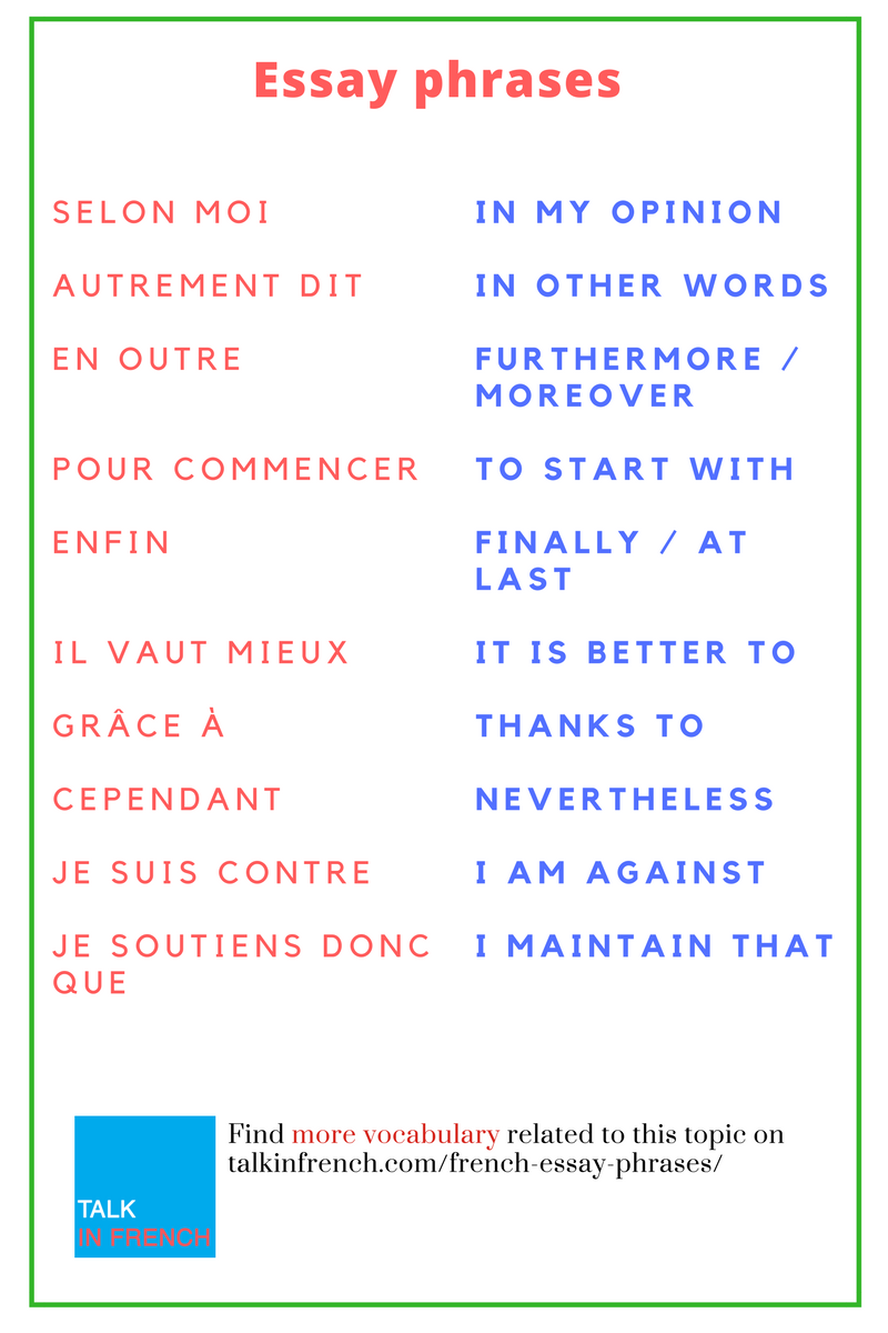 useful french phrases essay A simple reference sheet with useful expressions for introducing and expanding on ideas and writing conclusions aimed at as and a2 french students.