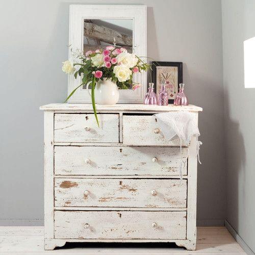 commode en manguier blanche effet vieilli l 94 cm pinterest commodes parfait et chambres. Black Bedroom Furniture Sets. Home Design Ideas