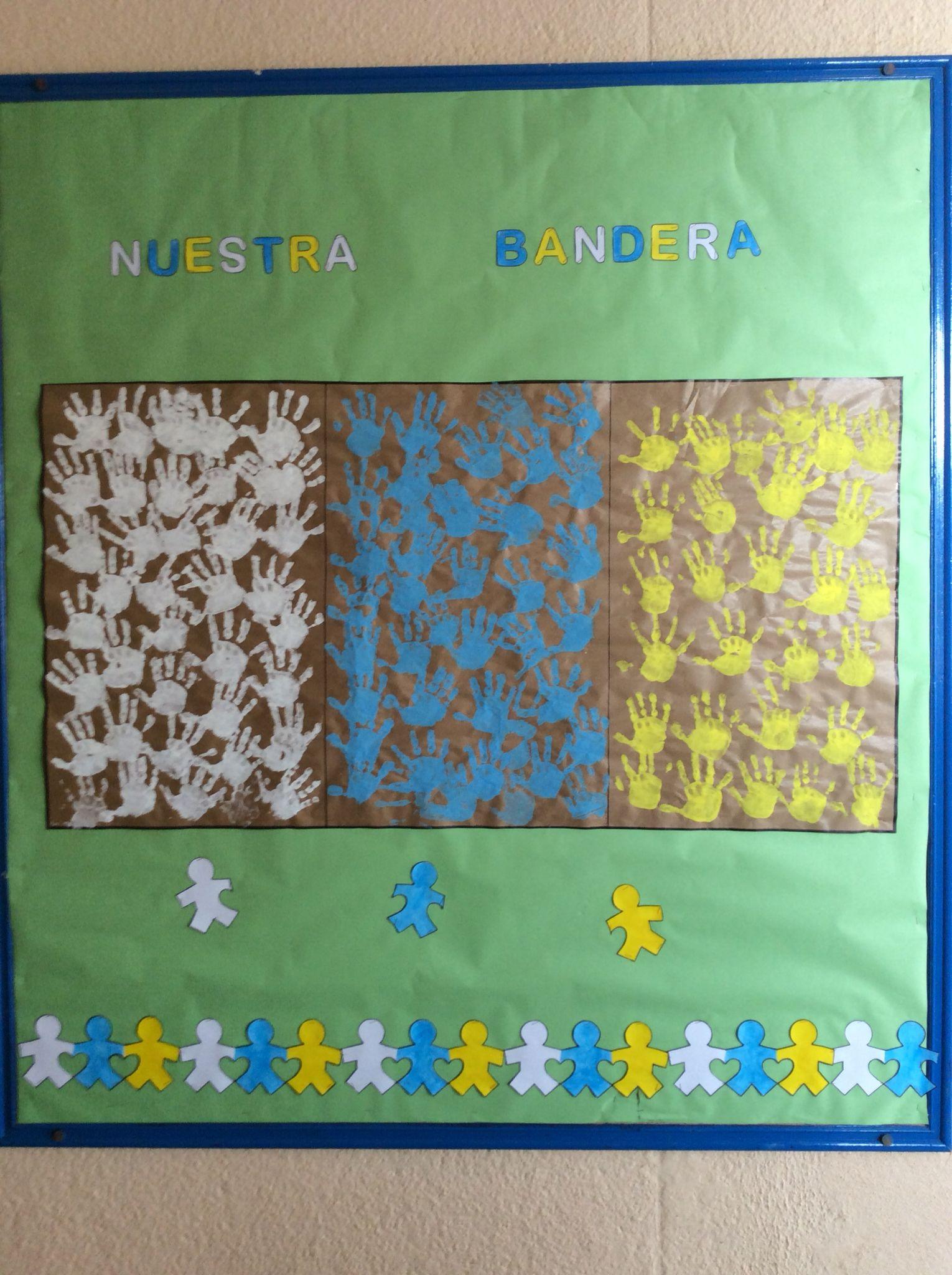 Bandera canaria con manos creativas d a de canarias - Islas canarias con ninos ...