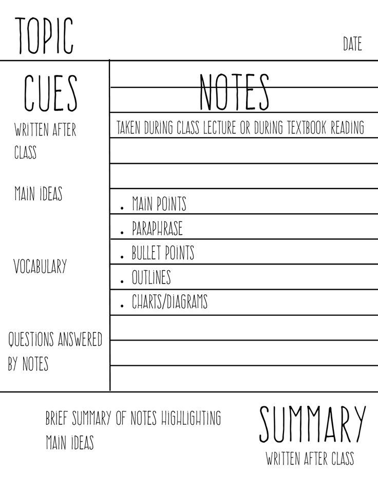 Image result for cornell math notes Interactive notebook - cornell note taking template