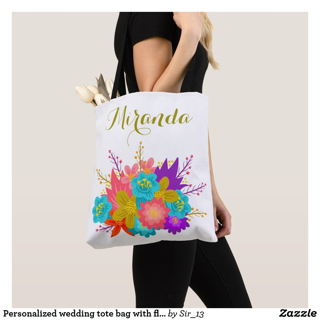 personalized wedding tote bag with floral print pinterest wedding