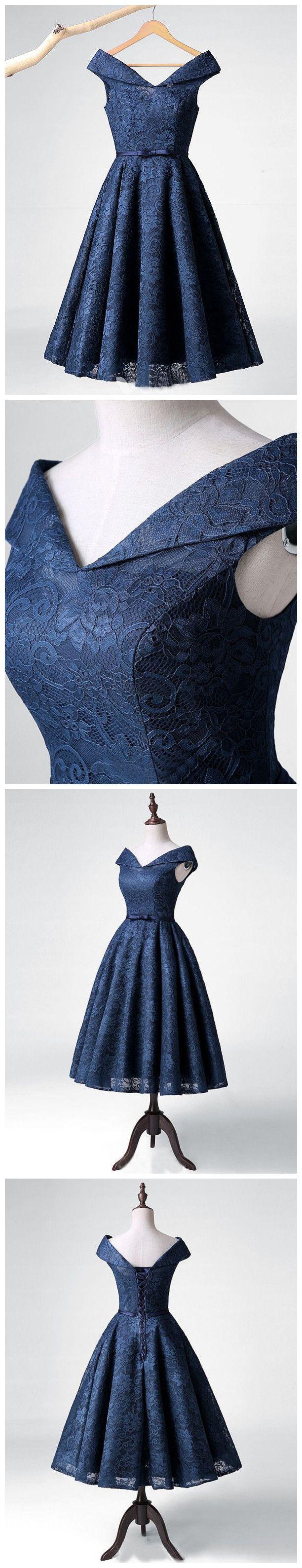 chic aline v neck lace homecoming dresses unique dark navy