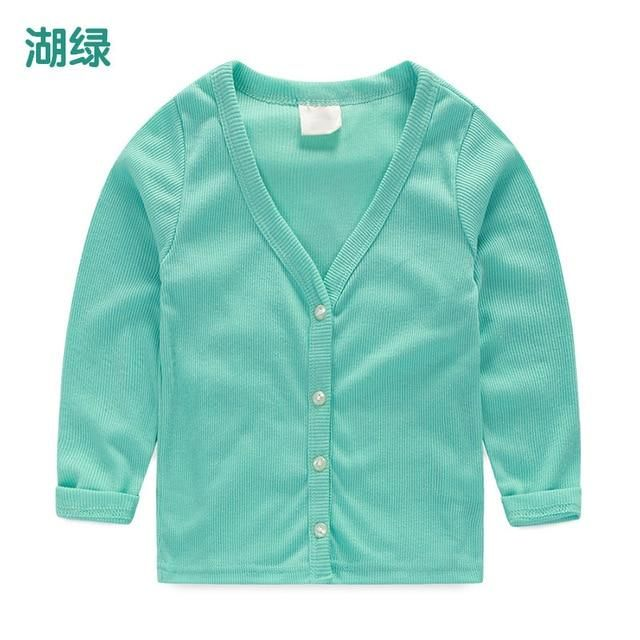 Children'S Wear 2019 Spring And Autumn New Boys And Girls Cardigan Sweater Coat Korean Sweater Kids Single-Breasted Outwear 0058 - Green / 8T