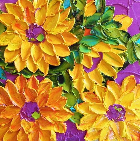 Thickly Layered Flower Paintings Literally Pop Off Artist's Canvas Wall Art