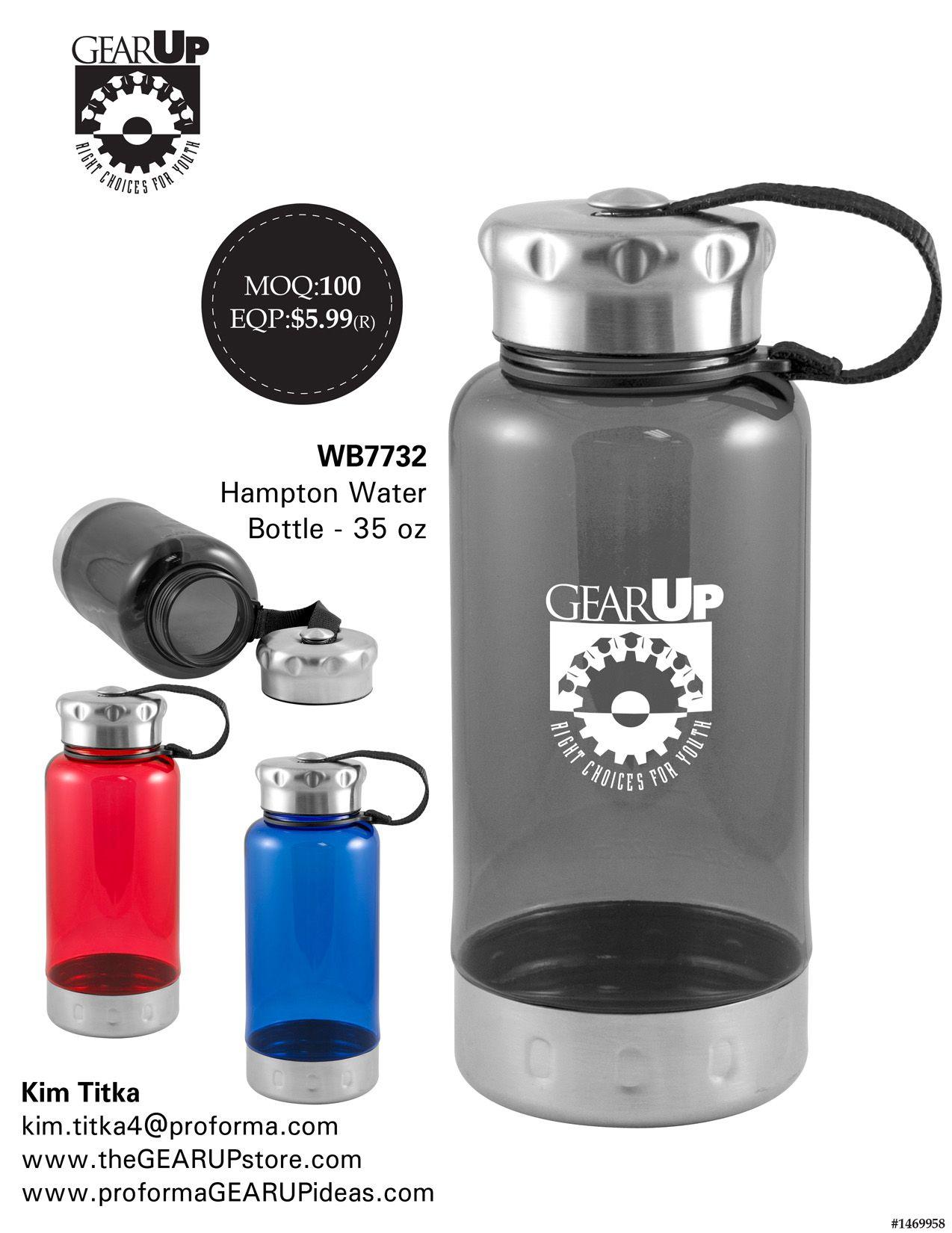 GEARUP Hampton Water Bottle 35 oz 34 Oz. Tritan™ Water