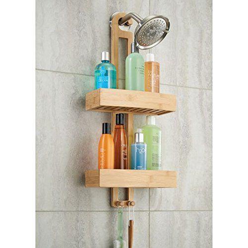 mDesign Estantería para ducha de bambú - Práctico estante de baño para  colgar de la ducha 41ed48c49c80