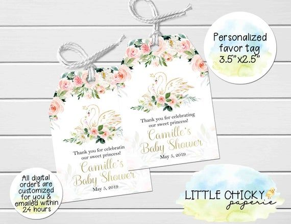 Floral Swan Baby Shower Favor Tags, Thank you tags, Digital Tags, Printable Baby Shower Favor Tags