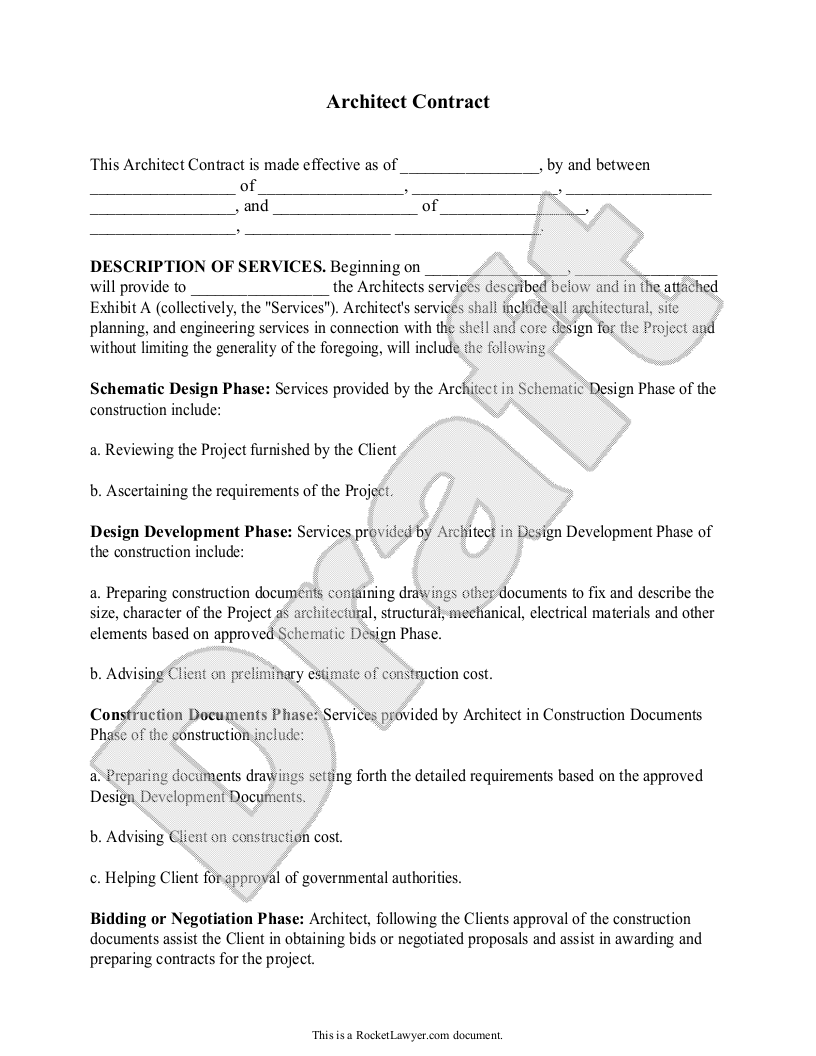Architect Contract Agreement For Client Individuals With Sample