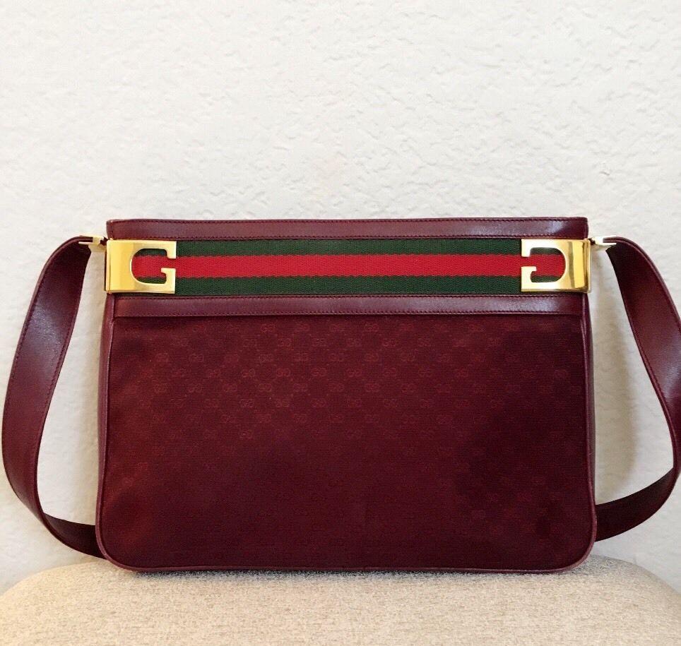 21ed11aaee27 Authentic Gucci Vintage Burgundy Leather Monogram Canvas Striped Purse |  Clothing, Shoes & Accessories, Women's Handbags & Bags, Handbags & Purses |  eBay!