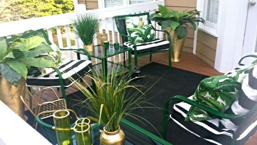 170e487d37a8d Beautiful emerald green , gold , and black and white stripe patio ...